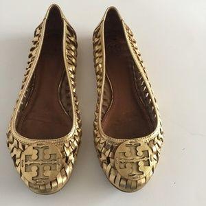 Tory Burch Gold Basketweave Style Flats